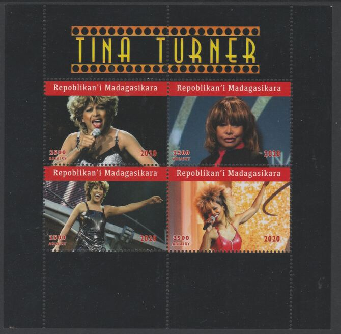 Madagascar 2020 Tina Turner perf sheetlet containing 4 values unmounted mint. Note this item is privately produced and is offered purely on its thematic appeal