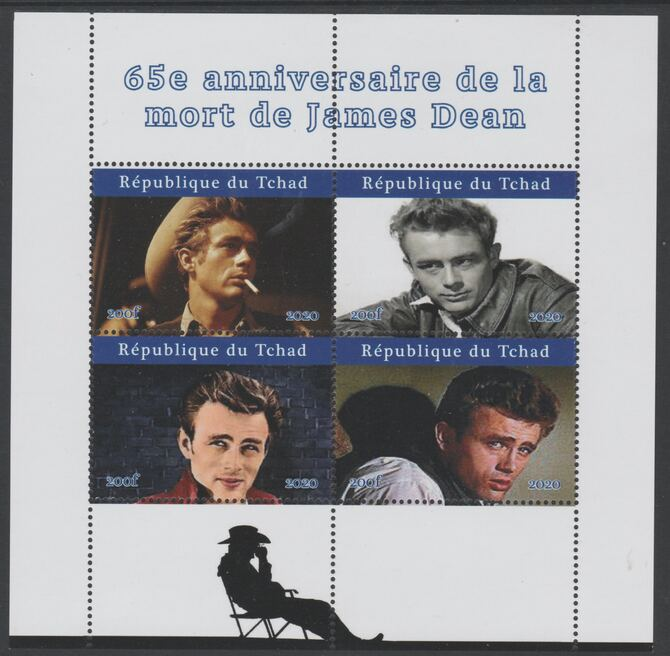 Chad 2020 James Dean 65th Death Anniversary perf sheetlet containing 4 values unmounted mint. Note this item is privately produced and is offered purely on its thematic appeal
