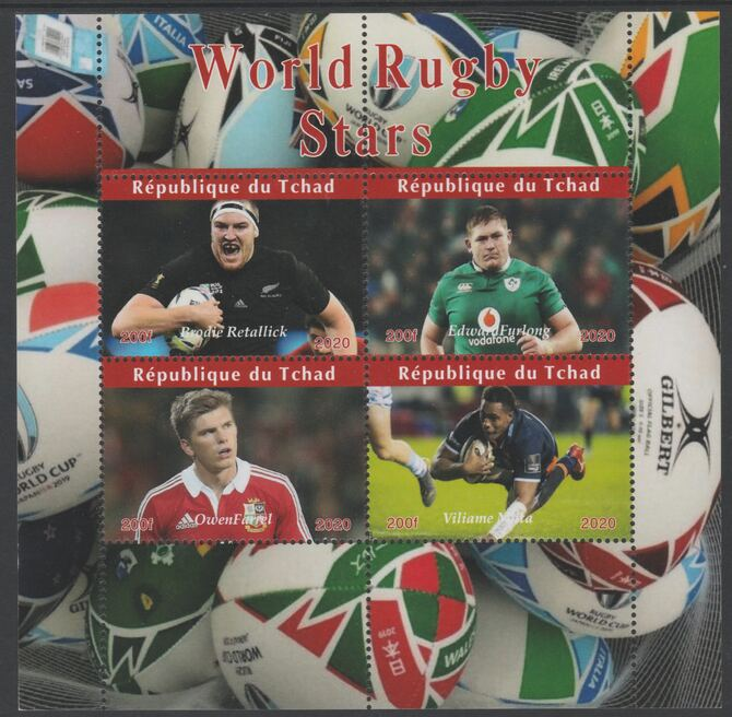 Chad 2020 Rugby World Stars perf sheetlet containing 4 values unmounted mint. Note this item is privately produced and is offered purely on its thematic appeal