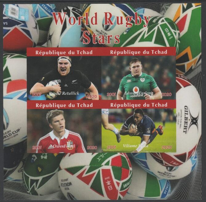 Chad 2020 Rugby World Stars imperf sheetlet containing 4 values unmounted mint. Note this item is privately produced and is offered purely on its thematic appeal
