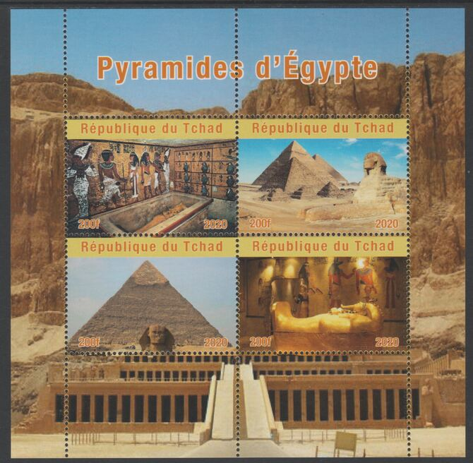Chad 2020 Pyramids of Egypt perf sheetlet containing 4 values unmounted mint. Note this item is privately produced and is offered purely on its thematic appeal