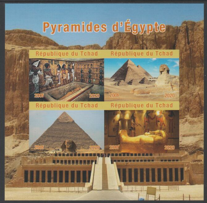 Chad 2020 Pyramids of Egypt imperf sheetlet containing 4 values unmounted mint. Note this item is privately produced and is offered purely on its thematic appeal