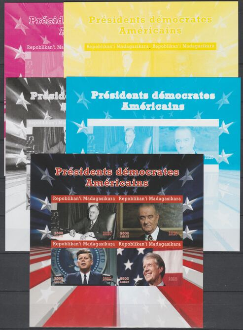 Madagascar 2020 US Presidents - Kennedy, Clinton, LBJ & FD Roosevelt - imperf set of 5 progressive sheets comprising the 4 individual colours and completed design unmounted mint. Note this item is privately produced and is offered purely on its thematic appeal