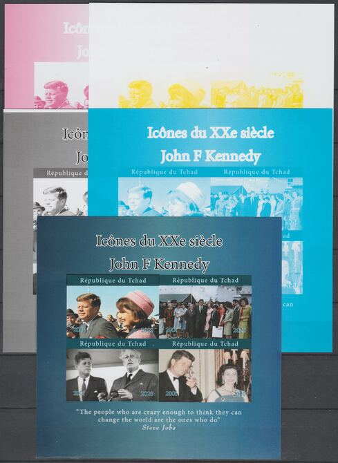 Chad 2018 Icons of 20th Century - J F Kennedy  - imperf set of 5 progressive sheets comprising the 4 individual colours and completed design unmounted mint. Note this item is privately produced and is offered purely on its thematic appeal