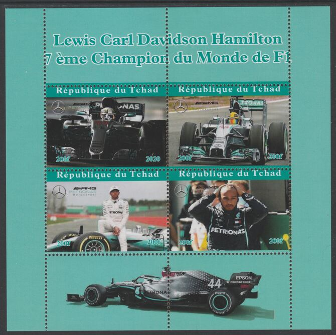 Chad 2020 Lewis Hamilton F1 Champion perf sheet containing 4 values unmounted mint. Note this item is privately produced and is offered purely on its thematic appeal