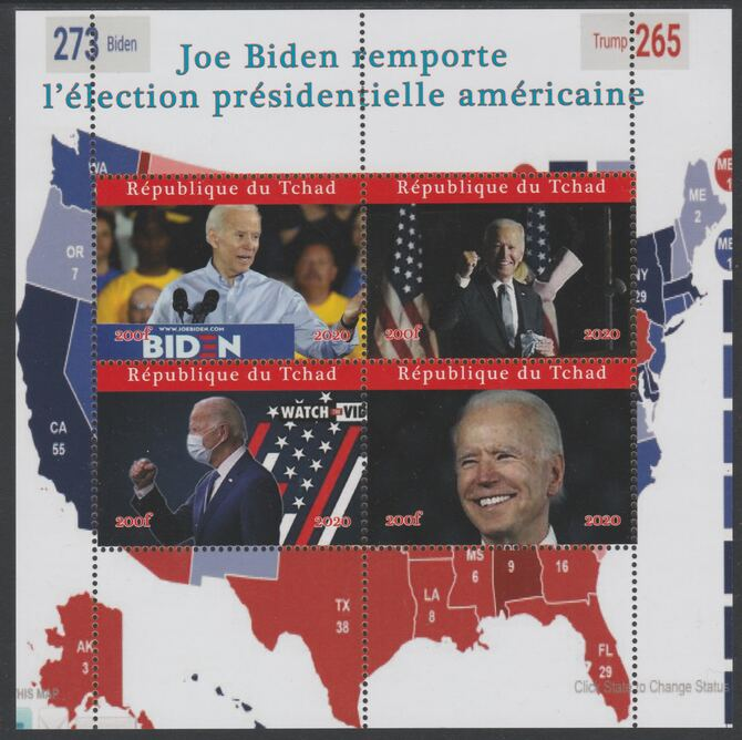 Chad 2020 Joe Biden President Elect perf sheet containing 4 values unmounted mint. Note this item is privately produced and is offered purely on its thematic appeal