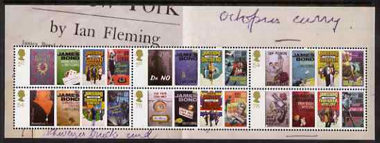 Great Britain 2008 Birth Centenary of Ian Flemming (James Bond) perf m/sheet unmounted mint SG 2797-2802