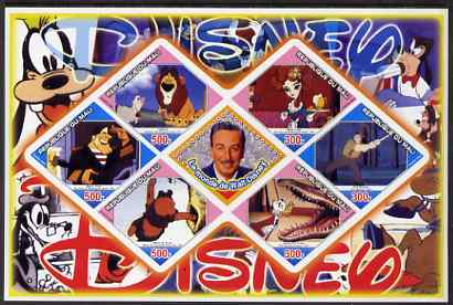 Mali 2006 The World of Walt Disney #06 imperf sheetlet containing 6 diamond shaped values plus label, unmounted mint
