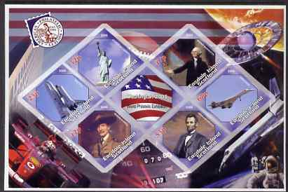 Easdale 2006 Washington Stamp Exhibition imperf sheetlet containing 6 diamond shaped values (plus label) unmounted mint