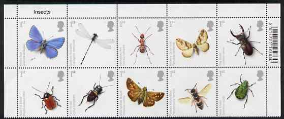 Great Britain 2008 Action for Species #2 - Insects perf se-tenant block of 10 unmounted mint SG 2831-40