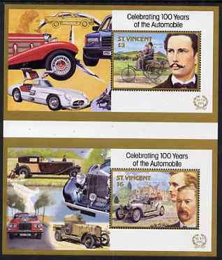 St Vincent 1987 Centenary of Motoring (with Designers) set of 4 m/sheets (2 pairs from uncut proof sheets) unmounted mint SG MS 1089