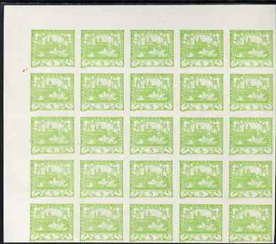 Czechoslovakia 1918-19 Hradcany Castle 5h yellow-green impressive imperf block of 20 on ungummed paper, SG5
