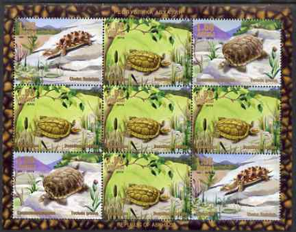 Abkhazia 1999 Turtles & Tortoises perf sheetlet containing 9 values, unmounted mint
