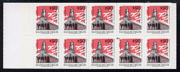 Booklet - Chile 1995 900p booklet containing pane of 10 x 90p Quehui Church discount stamps (SG 1516)
