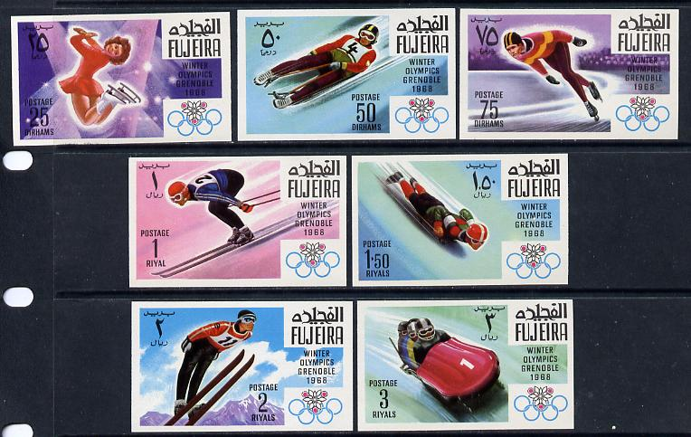 Fujeira 1968 Grenoble Winter Olympics imperf set of 7 unmounted mint, Mi 214-20B