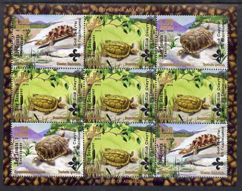 Abkhazia 1999 Turtles & Tortoises perf sheetlet containing 9 values each overprinted Boy Scout Anniversary, unmounted mint