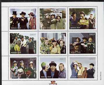 Mongolia 1998 The Three Stooges (Comedy series) perf m/sheet #2 containing 9 values unmounted mint, SG MS 2697b