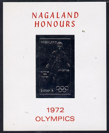 Nagaland 1972 Olympics (Athletics) 2ch value imperf in silver on glossy card