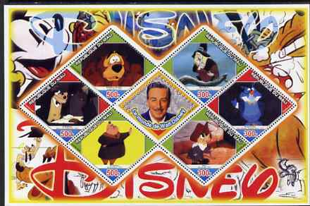 Mali 2006 The World of Walt Disney #01 perf sheetlet containing 6 diamond shaped values plus label, unmounted mint