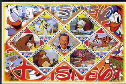 Mali 2006 The World of Walt Disney #02 perf sheetlet containing 6 diamond shaped values plus label, unmounted mint