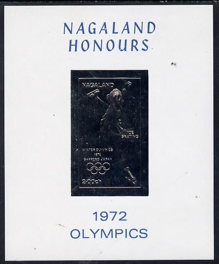 Nagaland 1972 Olympics (Ice Skating) 2ch value imperf in silver on glossy card