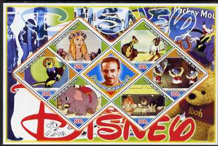 Mali 2006 The World of Walt Disney #04 perf sheetlet containing 6 diamond shaped values plus label, unmounted mint