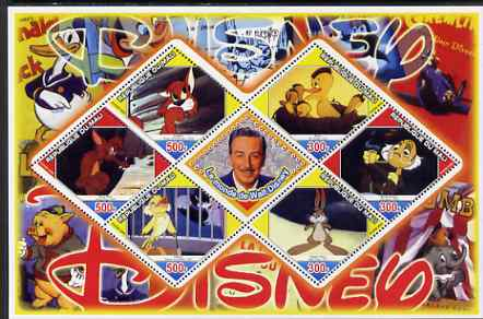 Mali 2006 The World of Walt Disney #09 perf sheetlet containing 6 diamond shaped values plus label, unmounted mint