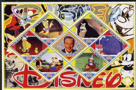 Mali 2006 The World of Walt Disney #10 perf sheetlet containing 6 diamond shaped values plus label, unmounted mint