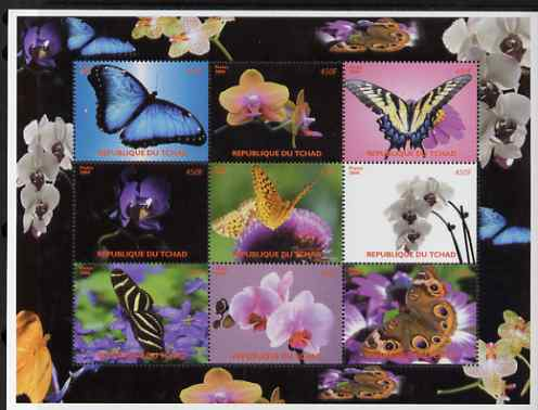 Chad 2008 Butterflies & Orchids perf sheetlet containing set of 9 values unmounted mint. Note this item is privately produced and is offered purely on its thematic appeal.