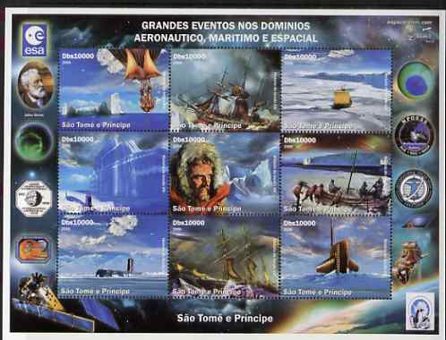 St Thomas & Prince Islands 2006 Great Events in Aviation, Maritime & Space perf set of 9 unmounted mint. Note this item is privately produced and is offered purely on its thematic appeal