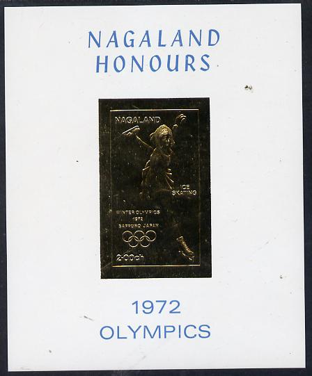 Nagaland 1972 Olympics (Ice Skating) 2ch value imperf in gold on glossy card