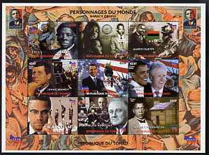 Chad 2008 Personalities of the World - Barack Obama perf sheetlet containing set of 9 values unmounted mint