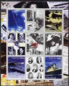Somaliland 2000 Titanic perf sheetlet containing set of 8 values plus label unmounted mint