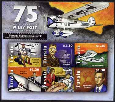 Tuvalu 2008 75th Anniversary of Wiley Post (aviator) perf sheetlet containing 6 values unmounted mint