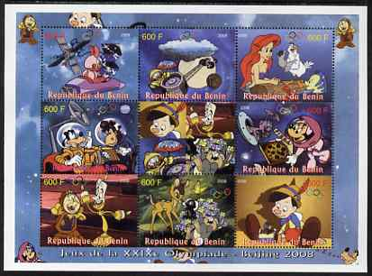 Benin 2008 Beijing Olympics - Disney's Bambi, Pinocchio etc perf sheetlet containing 8 values plus label unmounted mint. Note this item is privately produced and is offered purely on its thematic appeal