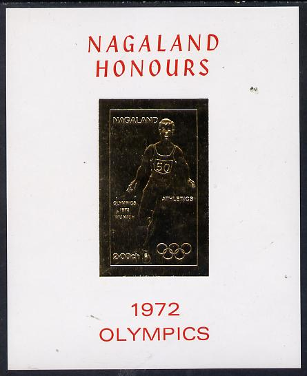 Nagaland 1972 Olympics (Athletics) 2ch value imperf in gold on glossy card