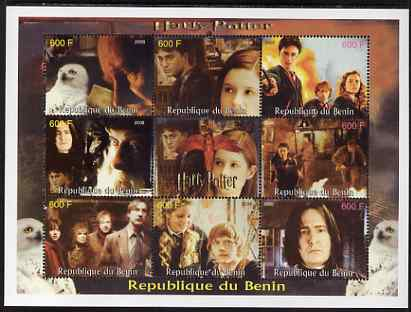 Benin 2008 Harry Potter perf sheetlet containing 8 values plus label unmounted mint