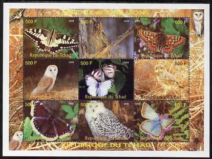 Chad 2008 Butterflies & Owls perf sheetlet containing 9 values unmounted mint