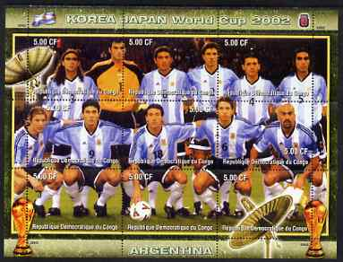 Congo 2002 Korea Japan World Cup Football Teams - Argentina perf composite sheetlet containing 9 values unmounted mint. Note this item is privately produced and is offere...