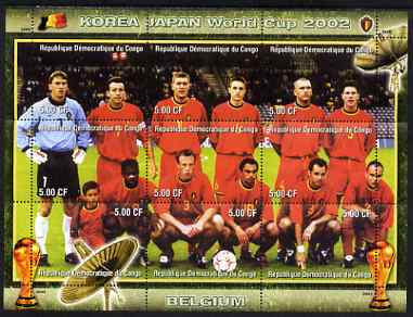 Congo 2002 Korea Japan World Cup Football Teams - Belgium perf composite sheetlet containing 9 values unmounted mint. Note this item is privately produced and is offered purely on its thematic appeal