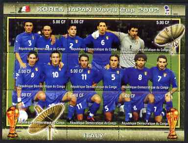 Congo 2002 Korea Japan World Cup Football Teams - Italy perf composite sheetlet containing 9 values unmounted mint. Note this item is privately produced and is offered purely on its thematic appeal