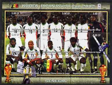 Congo 2002 Korea Japan World Cup Football Teams - Senegal perf composite sheetlet containing 9 values unmounted mint. Note this item is privately produced and is offered ...
