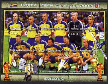 Congo 2002 Korea Japan World Cup Football Teams - Sweden perf composite sheetlet containing 9 values unmounted mint. Note this item is privately produced and is offered purely on its thematic appeal , stamps on sport, stamps on football, stamps on flags