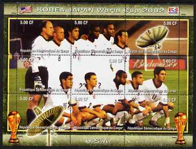 Congo 2002 Korea Japan World Cup Football Teams - USA perf composite sheetlet containing 9 values unmounted mint. Note this item is privately produced and is offered purely on its thematic appeal