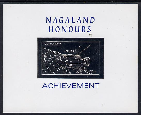 Nagaland 1972 Apollo 15 2ch value embossed in silver on glossy card (imperf)
