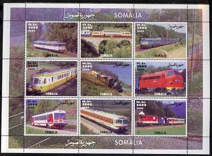 Somalia 2000 Modern Trains perf sheetlet containing set of 9 values unmounted mint