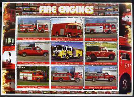 Somalia 2002 Fire Engines #2 perf sheetlet containing set of 9 values unmounted mint
