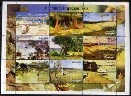 Somalia 2001 Australian Impressionists perf sheetlet containing set of 9 values unmounted mint. Note this item is privately produced and is offered purely on its thematic appeal