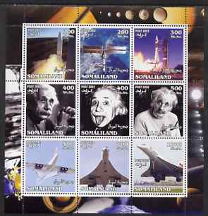 Somaliland 2002 Space, Einstein & Concorde perf sheetlet containing set of 9 values unmounted mint