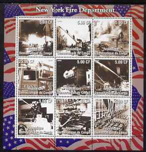 Congo 2002 New York Fire  Department perf sheetlet containing 9 values, unmounted mint. Note this item is privately produced and is offered purely on its thematic appeal